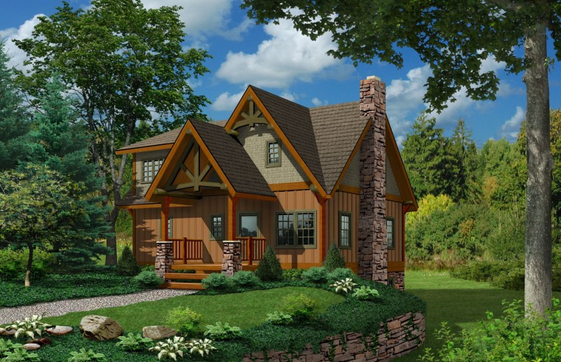 The ashley cottage timber frame home plans for Small timber frame house designs