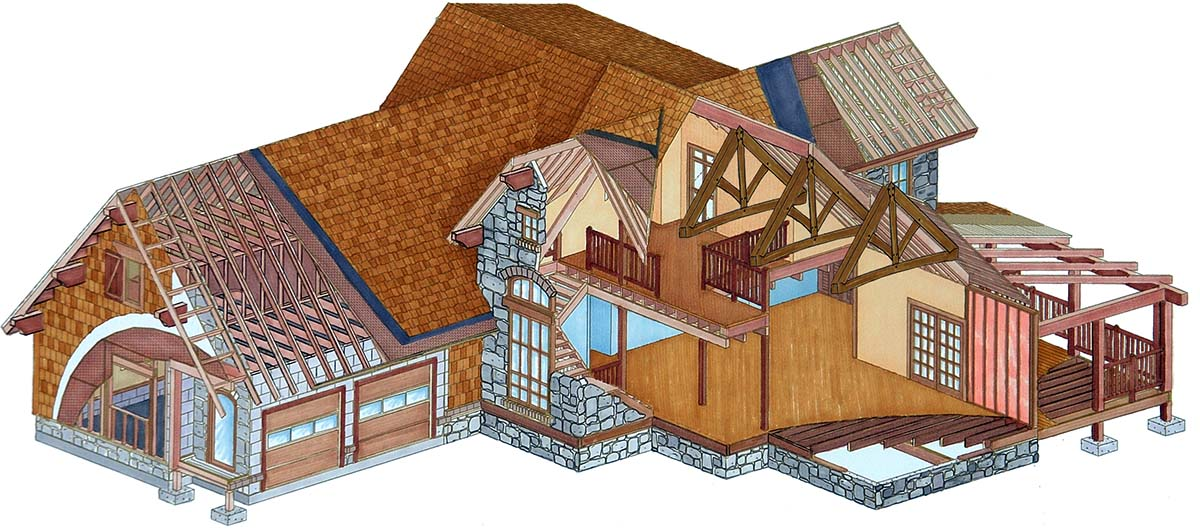 Natural element hybrid timber frame homes for Hybrid timber frame home plans