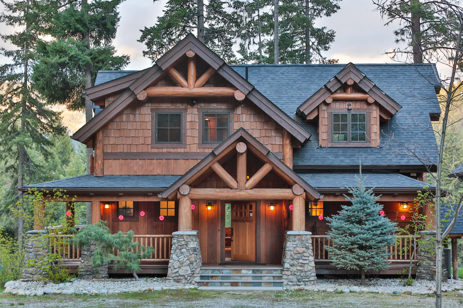 Timber frame home plans the big chief mountain lodge for Timber frame homes plans
